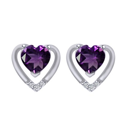 Simulated Amethyst & White Natural Diamond Accent 10K Solid White Gold Heart Stud Earrings (0.44 Cttw)