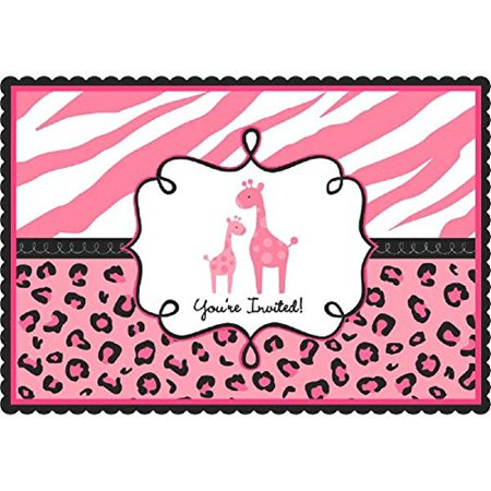 Amscan 20 Count Sweet Safari Girl Post Card Invitations with Envelopes