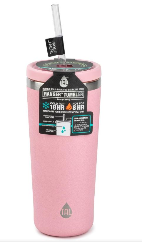 TAL 24 Ounce Stainless Steel Ranger Tumbler with Tritan Straw, Pink Glitter