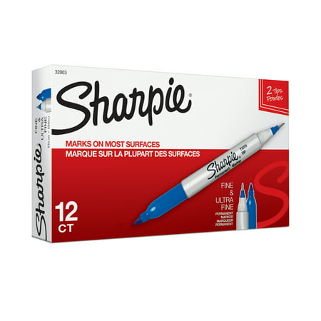 Sharpie Twin-Tip Permanent Marker, Fine/Ultra Fine Point, Blue, Dozen ()