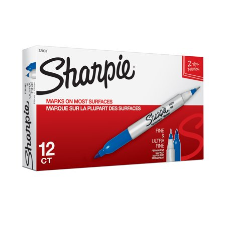 Sharpie Twin-Tip Permanent Marker, Fine/Ultra Fine Point, Blue, Dozen