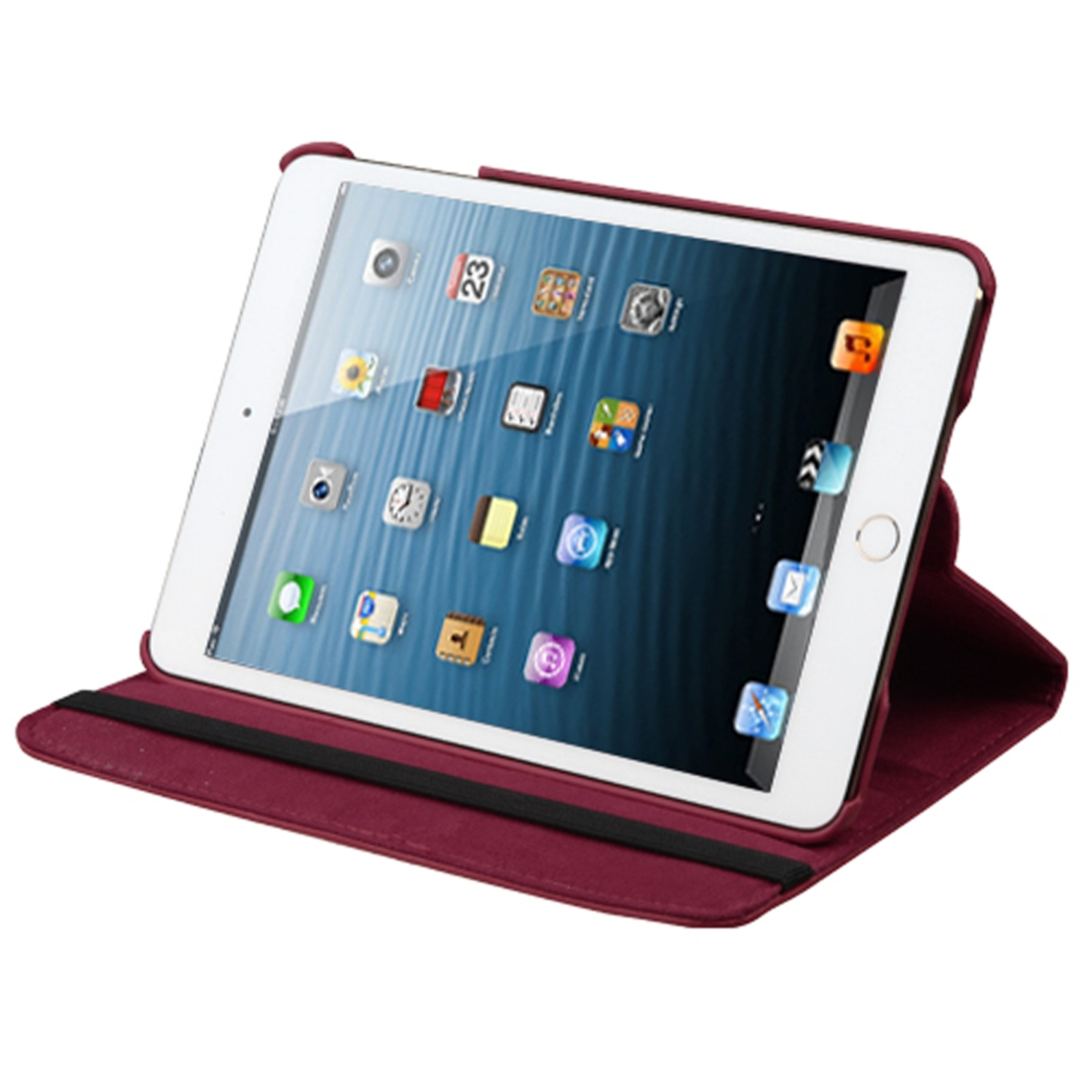 Insten Multi-Viewing Leather Stand Cover Case For iPad Mini 3 2 1 - Red