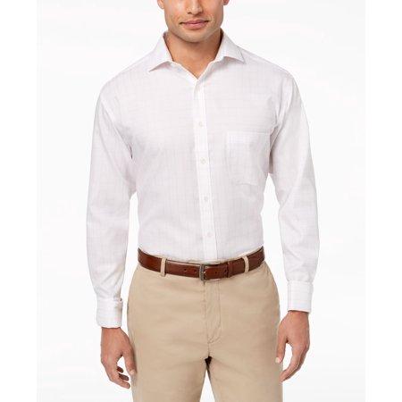 Mens Regular-Fit Window Pane Dress Shirt 17 (Windowpane Dress Shirt)