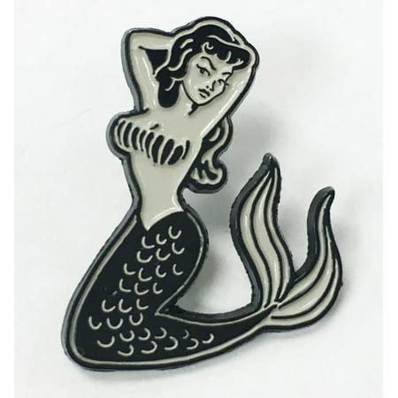 Mermaid Pin Up Girl Tattoo Lover Enamel Lapel