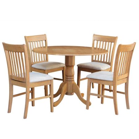 East West Furniture Oak Round Kitchen Table And 4 Chairs 5 Piece Dining Set