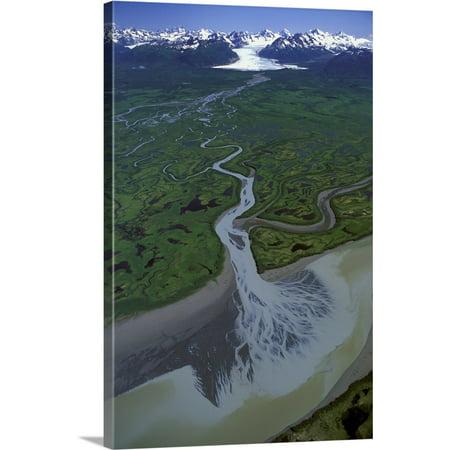 Great BIG Canvas | Jim Wark Premium Thick-Wrap Canvas entitled Aerial of Ibeck Creek and Scott Glacier, Copper River Delta, Southcentral - 5 Rivers Delta Halloween