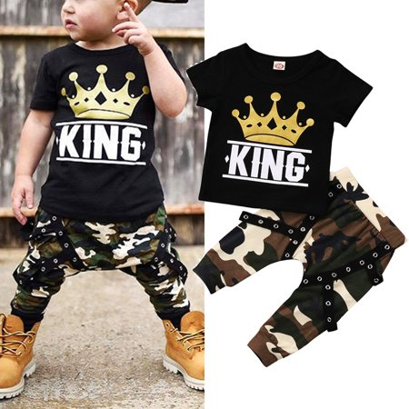 Newborn Kids Baby Boys Tops T-shirt Camo Pants 2PCS Outfits Set Clothes 0-5Years ()