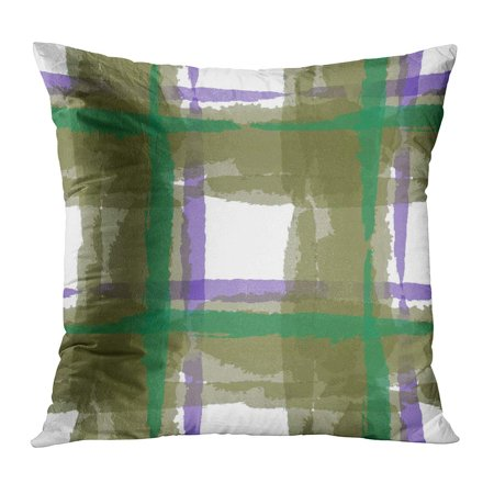 ECCOT Watercolor Abstract Kilt Hand Crossing Stripes Upholstery Rustic Check Plaid Scottish Brush Celtic Dirty Pillow Case Pillow Cover 20x20 inch ()