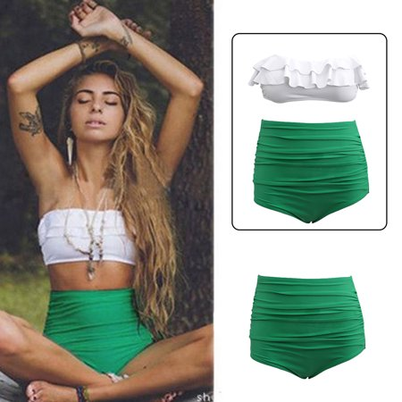 OUTAD - Bikini Swimwear Vintage Ruffle High Waist Bikini Swimwear Women  Sexy Swimsuit Bathing Suit - Walmart.com 47701d74e