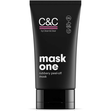 C&C by Clean & Clear Mask One Rubbery Peel Off Mask, Removes Dirt + Blackheads, Cleans Pores, Oil-Free Pink Face Mask,