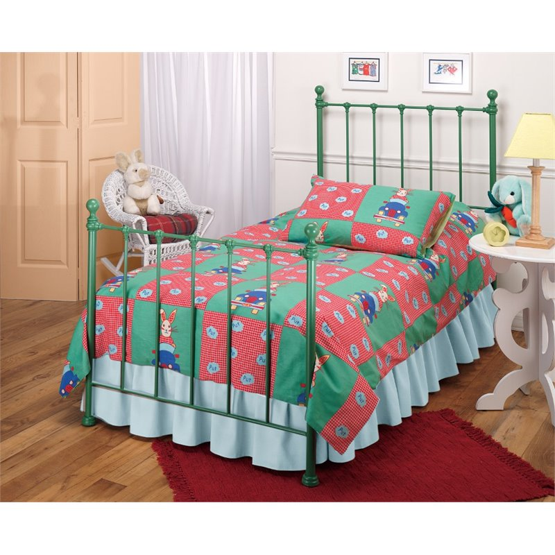 Hillsdale Molly Twin Poster Bed with Trundle in Green by Hillsdale