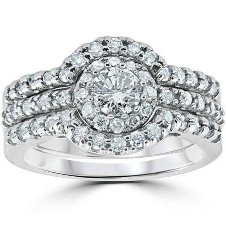 1 1/10ct TDW Round Cut Diamond Trio Engagement Guard Wedding Ring Set White Gold - image 3 de 3