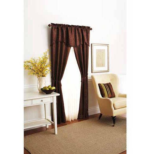 Better Homes and Gardens Damask Scroll Window Curtains, Set of 3, Curtain Panels and Valances Included