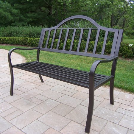 Oakland Living Rochester Tubular Outdoor Iron Bench - Hammer Tone Bronze Finish ()