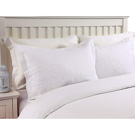 King Size Polyester Pillow Sham (MarCielo 2-Piece Embroidered Pillow Shams, King Decorative Microfiber Pillow Shams Set, King Size (White) )