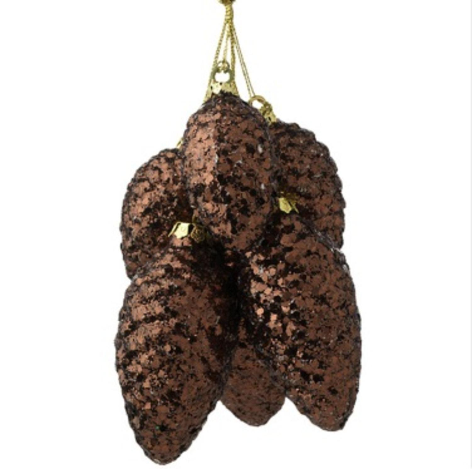 """9.5"""" Modern Lodge Chocolate Brown Glitter Pine Cone Cluster Christmas Ornament"""