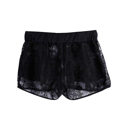 Summer Women Sexy Floral Hollow Lace Elastic Drawstring Party Club Shorts