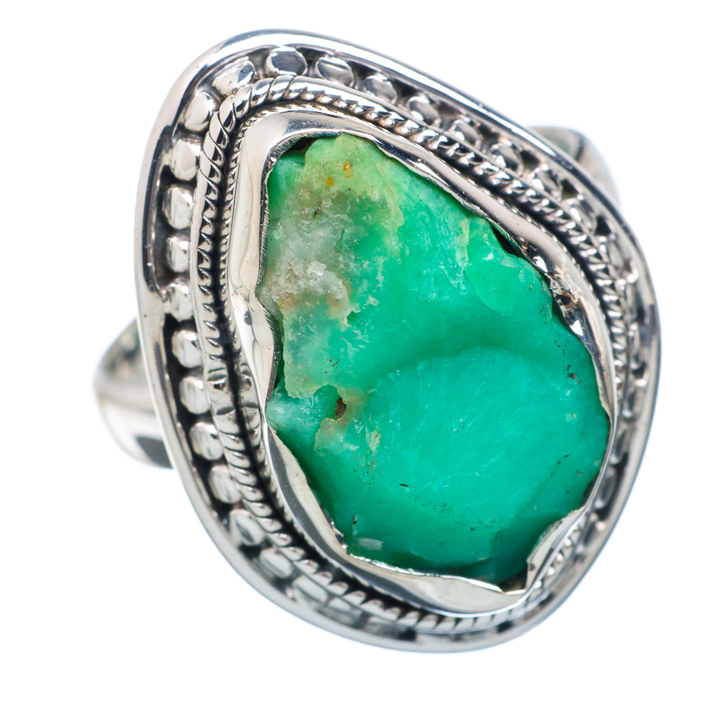 Ana Silver Co Rough Chrysoprase 925 Sterling Silver Ring Size 8 Handmade Jewelry RING882701 by Ana Silver Co.