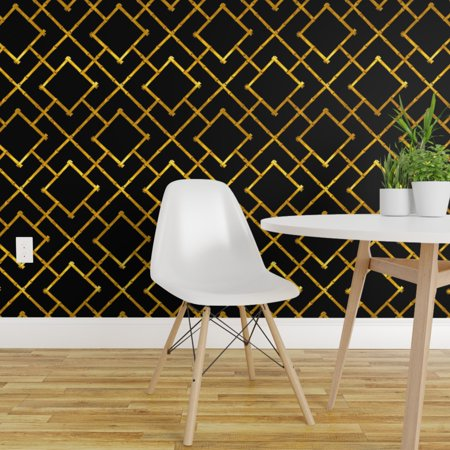 Wallpaper Roll Bamboo Squares Gold Leaf Chinoiserie 24in x 27ft Bamboo Grass Cloth Wallpaper