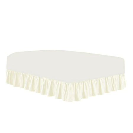 The Great American Store 3 Side Coverage Ruffle/Gathered Bed Skirt with 21 Inch Drop Length (Full, Solid Ivory) 1500 Series Brushed Microfiber - Covers Bed Legs and Frame