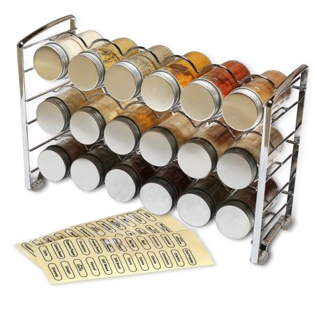 DecoBros Spice Rack Stand holder with 18 bottles and 48 Labels, Chrome ()