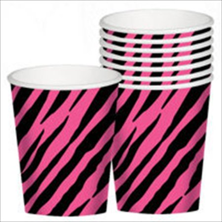 Zebra Stripes 'Pink and Black' Animal Print 9oz Paper Cups (8ct) (Animal Print Paper)