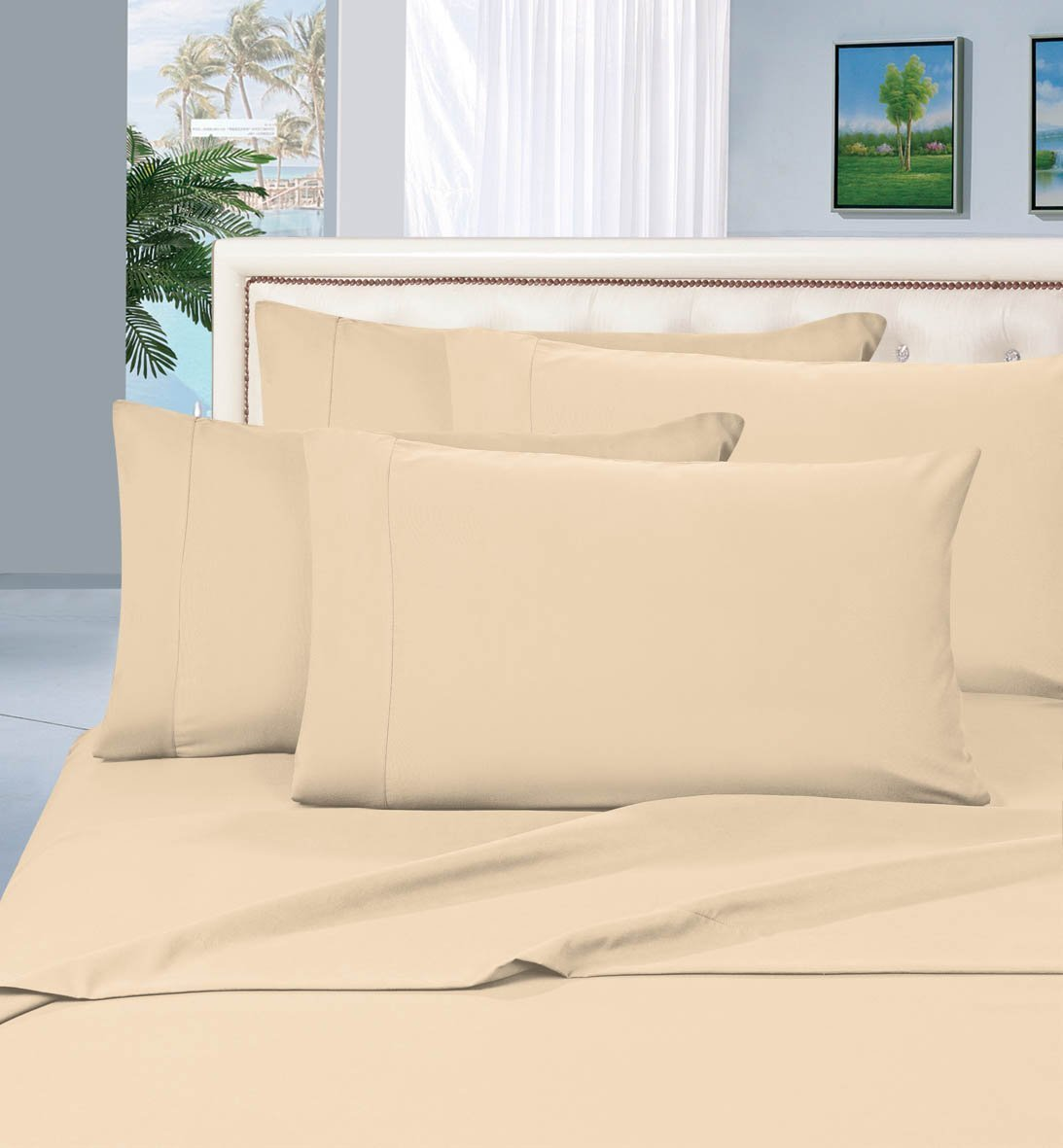 Bedding Outlet 1500 Series  4-Piece Bed Sheet Set, Deep Pocket up to 16 inch, Queen Cream/Tan