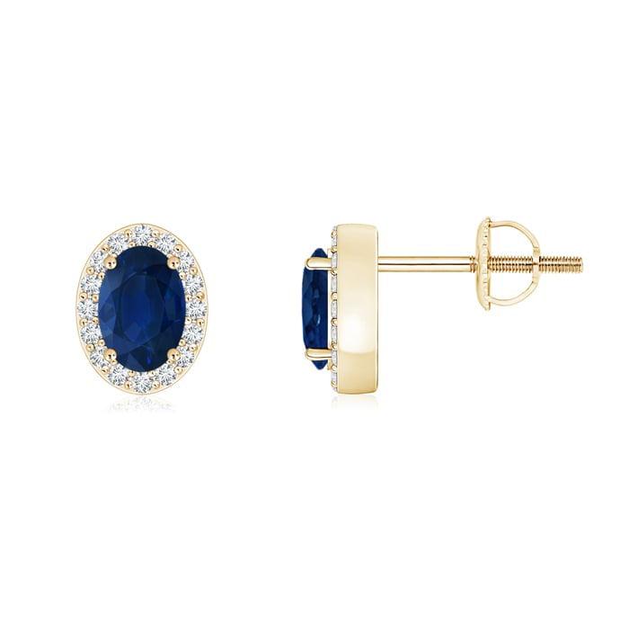 Angara Prong Set Blue Sapphire Stud Earrings in 14k Yellow Gold CmPMVk7x