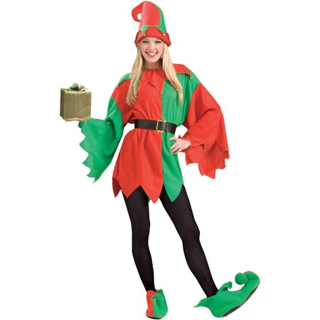 Santa's Helper Elf Women's Adult Christmas Costume, One Size, 8-14