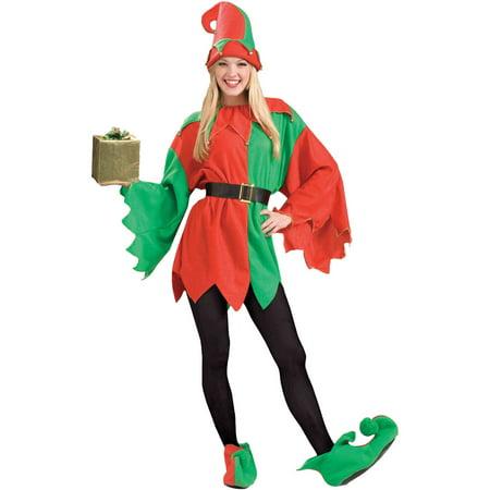Santa's Helper Elf Women's Adult Christmas Costume, One Size, 8-14 (Female Christmas Elf Costume)
