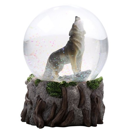 Majestic Lone Wolf Howling Water Globe Collectible Water Ball Home Decorative Gift Item (Wolf Water Globe)