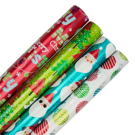 JAM Christmas Wrapping Paper, 100 Sq Ft Total, 4/Pack, Merry Christmas Holographic Gift Wrap Set ()