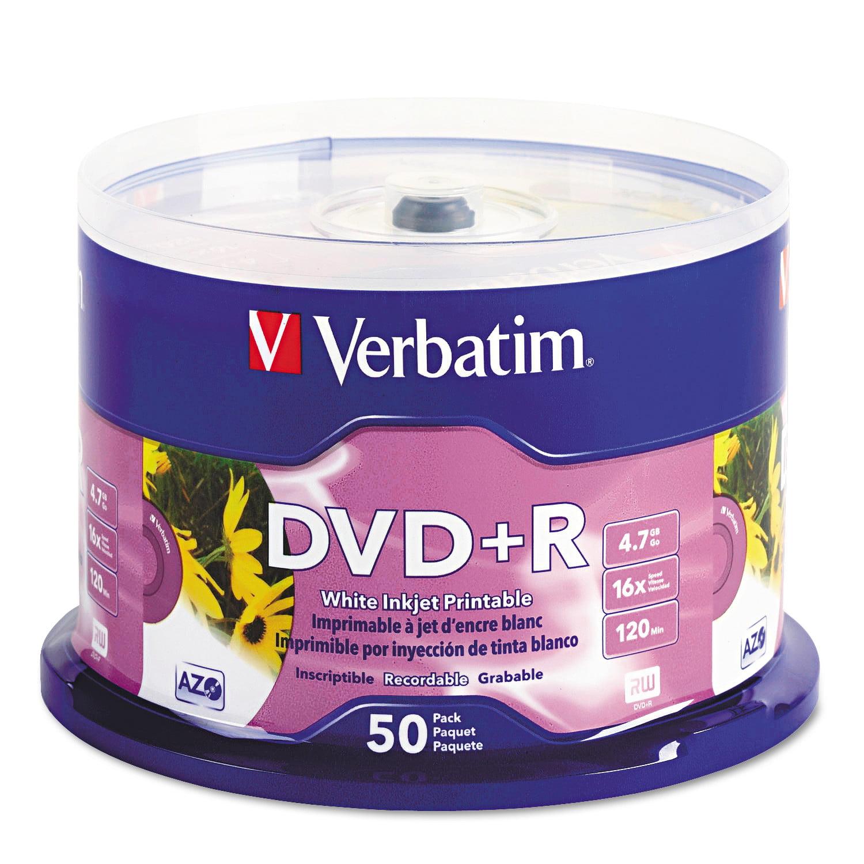 Verbatim Inkjet Printable DVD+R Discs, White, 50/Pack -VER95136