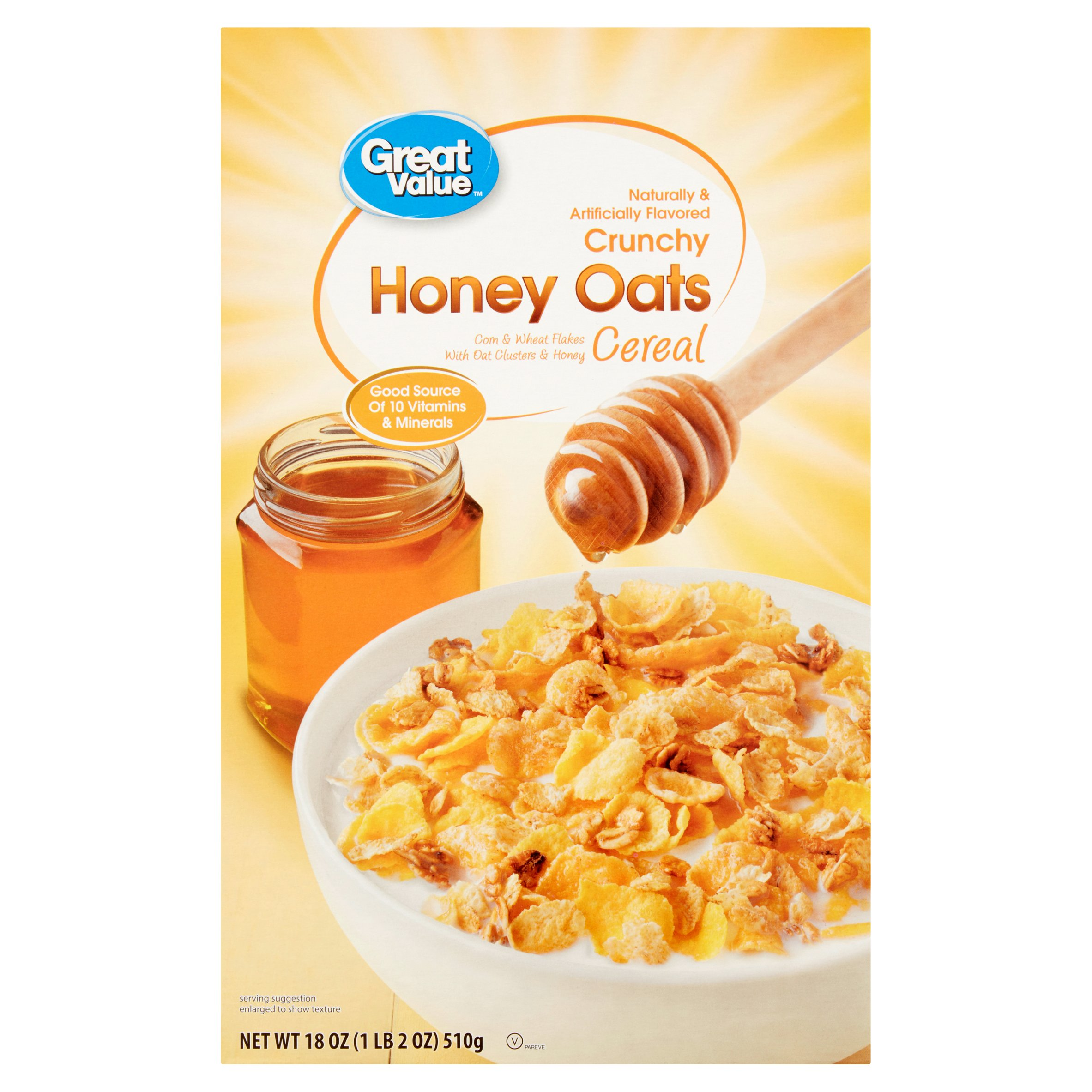(3 Pack) Great Value Crunchy Honey Oats Cereal, 18 oz