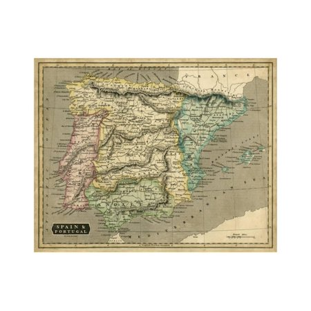 Map Of Spain For Printing.Thomson S Map Of Spain And Portugal Print Wall Art By Thomson