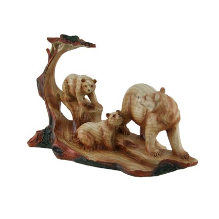 Mother Bear and Cubs Carved Wood Look Resin Statue - image 2 de 3