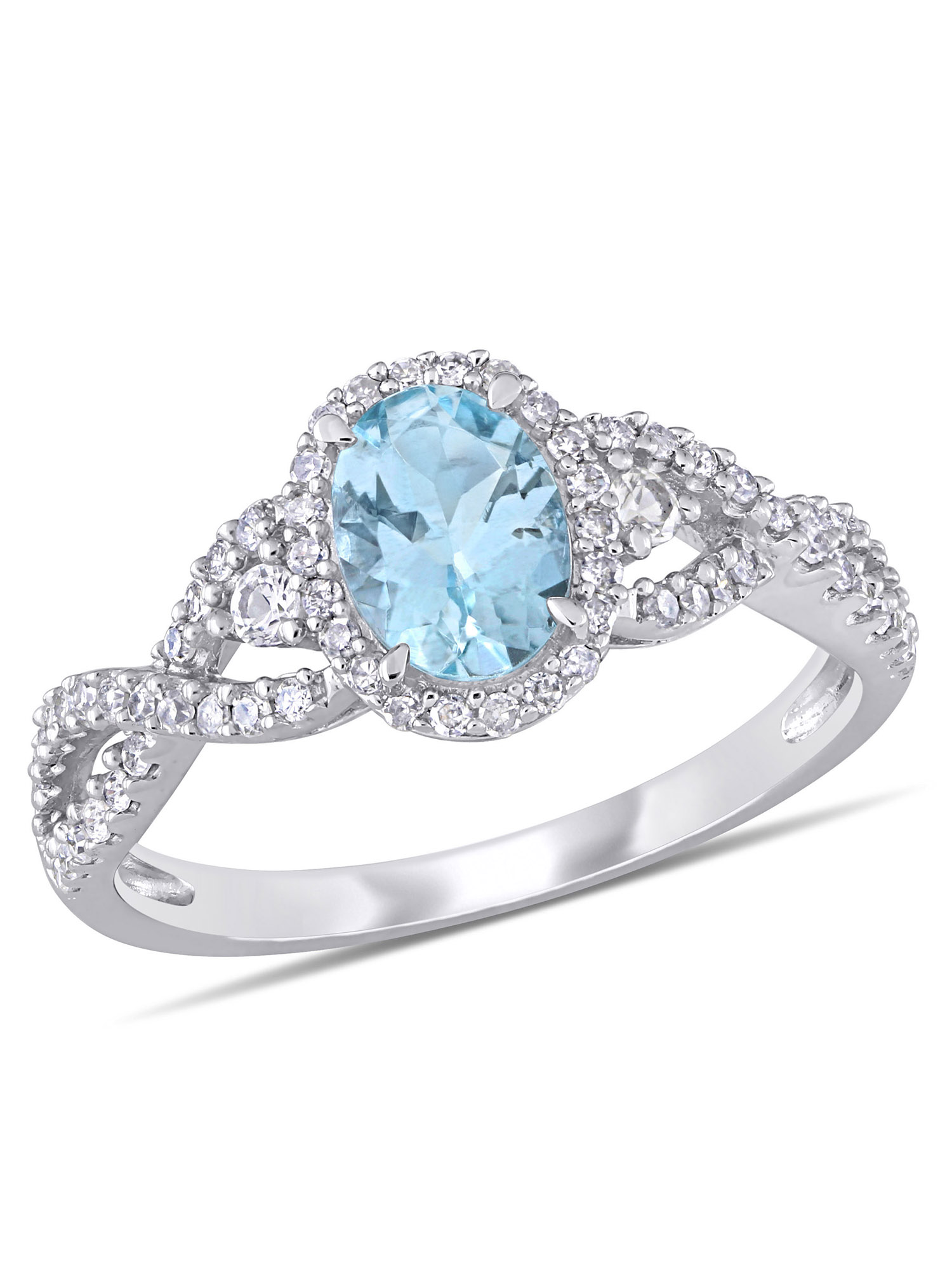 Tangelo 5/8 Carat T.G.W. Aquamarine and White Sapphire and 1/3 Carat T.W. Diamond 10k White Gold Engagement Ring