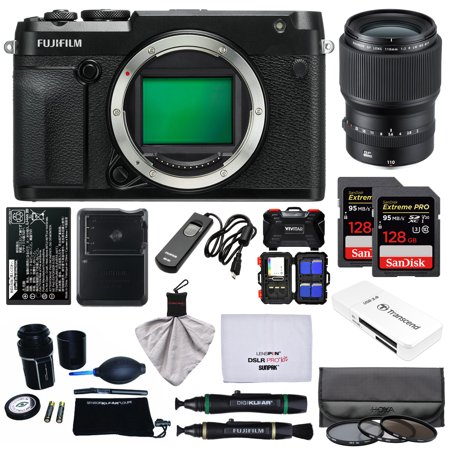 Fujifilm GFX 50R Medium Format Digital Camera Body with 110mm f/2.0 R LM WR Lens + 128GB Cards + Battery + Charger + Filters +