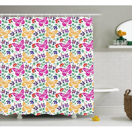 Spring Shower Curtain Flowers Butterflies Plants Vibrant Summer Blooms Leaves Nature Wings Artful Design