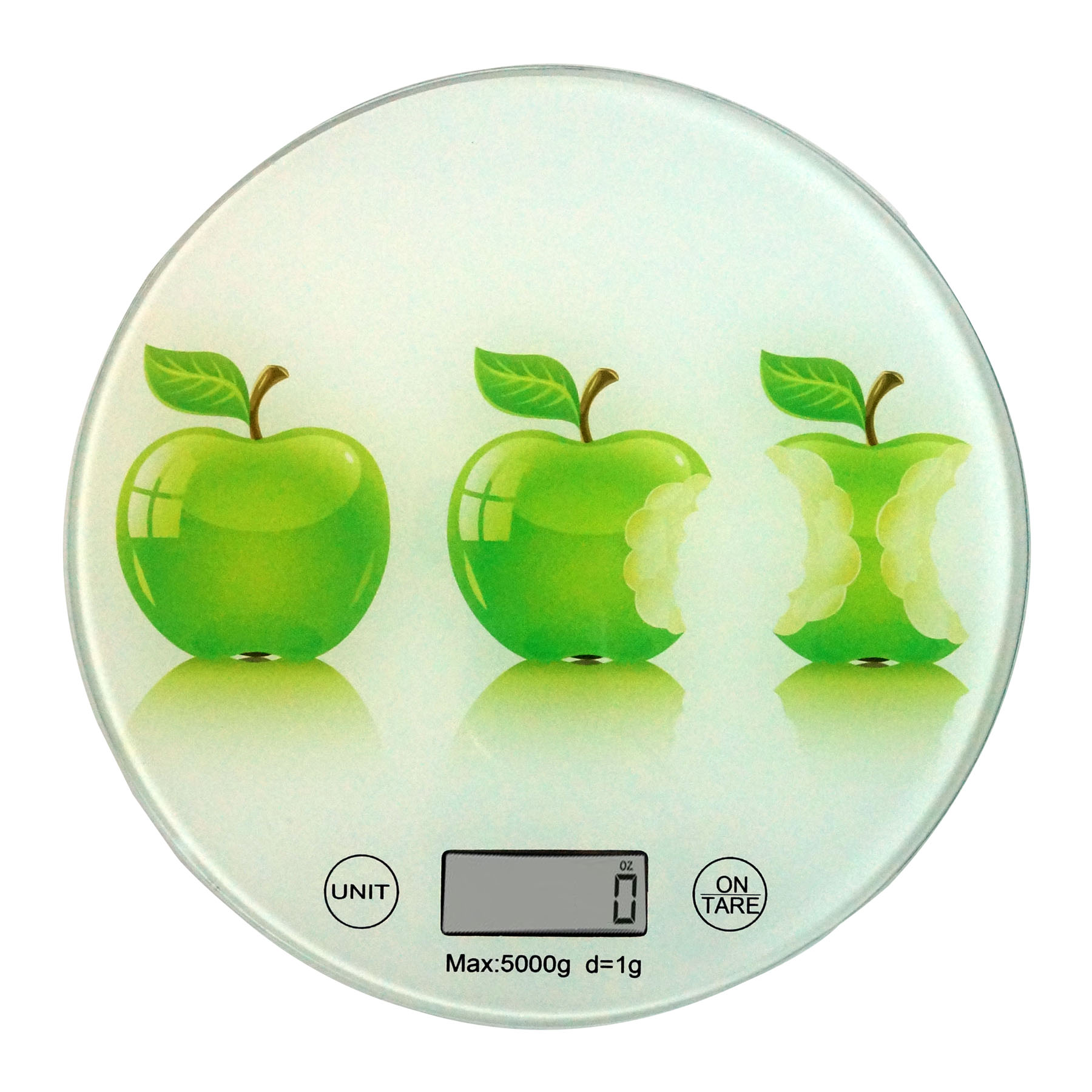 Round Digital Kitchen Scale Glass Apples Painted Surface ideal for Food Portion Measuring