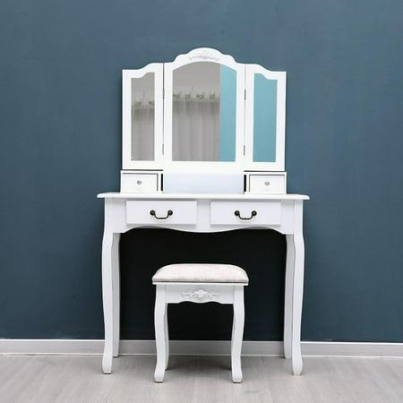 Ktaxon 3Mirror & 4Drawer White Vanity Makeup desk Dressing Table Set  Bedroom Vanity set