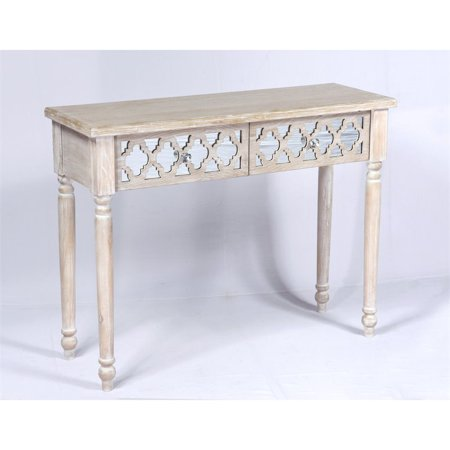 Pemberly Row Mika Console Table In Whitewash And Mirror