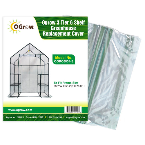 OGrow 3 Tier 6 Shelf Greenhouse Replacement Cover