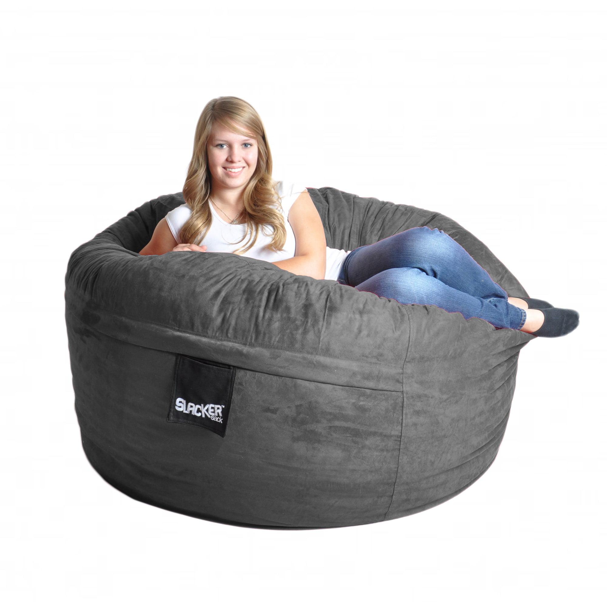 Slacker Sack Charcoal Grey 5-foot Microfiber and Memory Foam Bean Bag