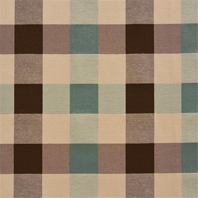 Designer Fabrics U0170A 54 in. Wide Teal, Cream And Brown Large 4 Color Check Silk Satin Upholstery Fabric