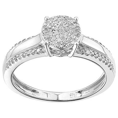 TGDJ Elegant 925 Sterling Silver Wedding/Engagement Ring - Paved with Dazzling 0.25 Carat Round Cut Natural Diamonds - High Polish Finish Exquisite Promise Style Fashion Jewelry