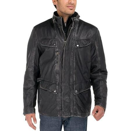 Black Washed Leather (Luciano Natazzi Men's Trim Fit Lambskin Leather Jacket Vintage Look Blast Washed Black )