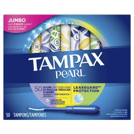 Tampax Pearl Plastic Tampons Triple Pack with Light/Regular/Super Absorbency, Unscented (Choose