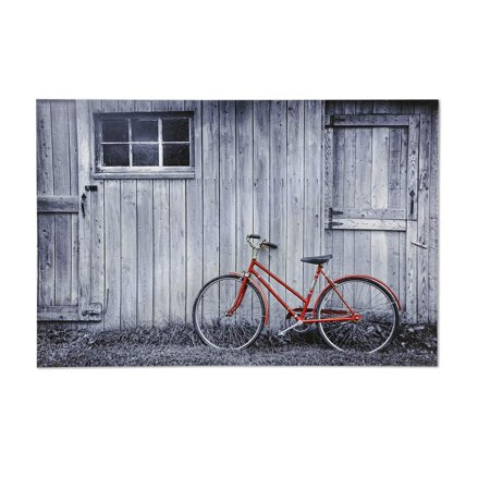 Canvas Print, Barn with Bicycle, Black and white canvas barn print with red bicycle over fir wood frame By Gift Craft
