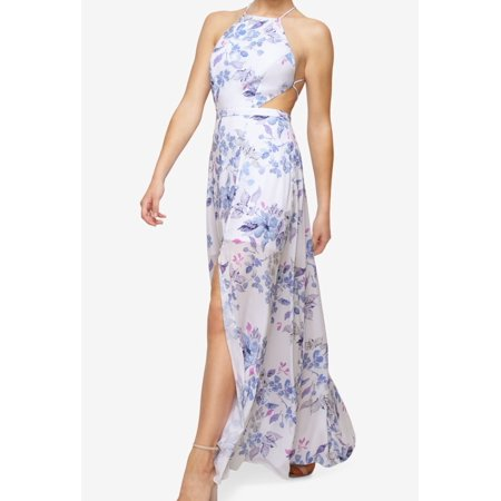 Fame And Partners New Blue White Floral  Print 12 Strappy Maxi Dress